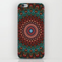 Turquoise and red mandala iPhone Skin