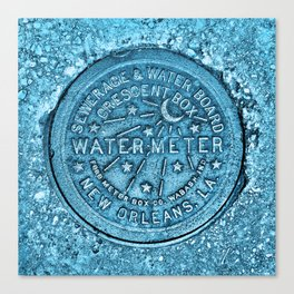 Blue Water Meter New Orleans Sewer Ford Louisiana Canvas Print