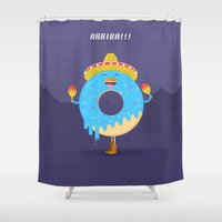 donut Shower Curtains featuring donut by slava
