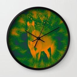 Pegasus emerging from a surreal mandala landscape Wall Clock