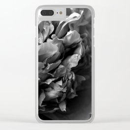 Black and White Summer Peony Clear iPhone Case