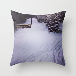 chairlift and snow Throw Pillow