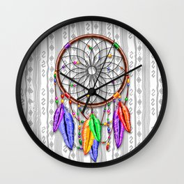 Dreamcatcher Rainbow Feathers Wall Clock