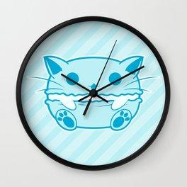 Blue Kawaii Cat Macaroon Wall Clock