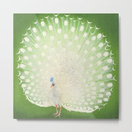 Peacock Fantasy Green Beige Metal Print