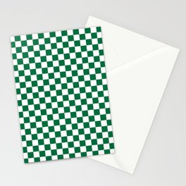 White and Cadmium Green Checkerboard Stationery Cards