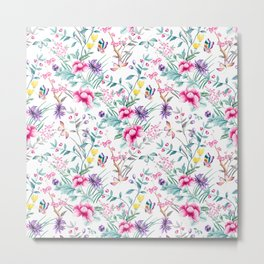 Floral Chinoiserie - White Metal Print