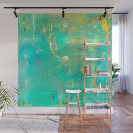 Planet Teal Wall Mural