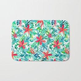 Paradise Floral - a watercolor pattern Bath Mat