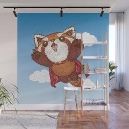 Red panda superhero Wall Mural