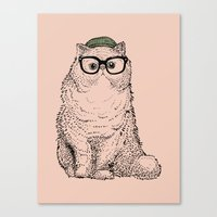 persian Canvas Prints featuring Hipster Persian Cat by Huebucket