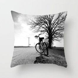 Biking with a Wise Oak Throw Pillow