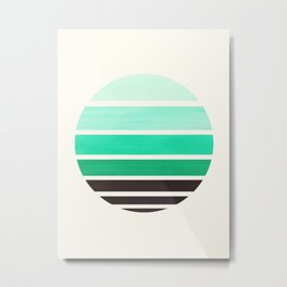 Teal Turquoise Mid Century Modern Minimalist Circle Round Photo Staggered Sunset Geometric Stripe De Metal Print
