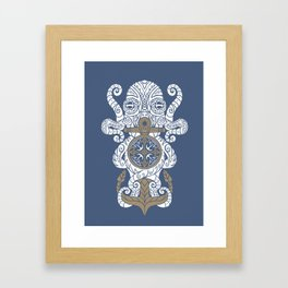 Octopus anchor and compass in tribal style Framed Art Print