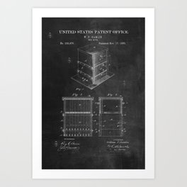 Beehive Patent with Bees Art Print