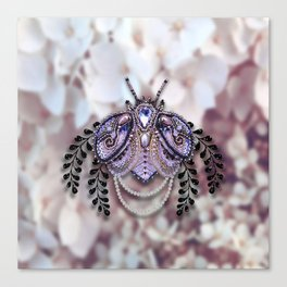 Ornate Purple Beaded Butterfly Canvas Print