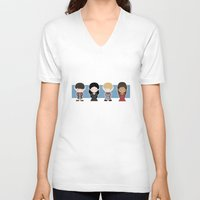 merlin V-neck T-shirts featuring Merlin, Morgana, Arthur, Guinevere, Chibi Merlin by carolam