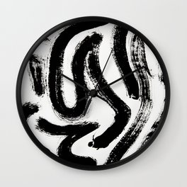Black and White Abstract Pattern 1: A minimal black and white pattern by Alyssa Hamilton Art Wall Clock