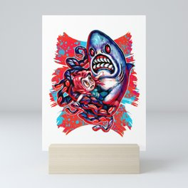 Sharktopus Attack ! Mini Art Print