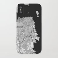 san francisco map iPhone & iPod Cases featuring San Francisco Map Gray by City Art Posters