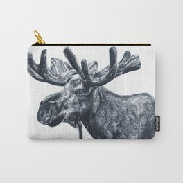 Ink pointillism moose drawing Carry-All Pouch