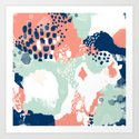 Kayl - abstract painting minimal coral mint navy color palette boho hipster decor nursery by charlottewinter