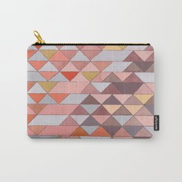 Triangle Pattern no.5 Gold, Pink and Brown Carry-All Pouch