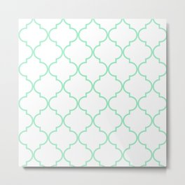 Quatrefoil - Mint Green Metal Print