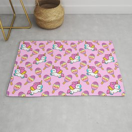 Cute happy pretty magical unicorns kittens, sweet adorable yummy colorful Kawaii rainbow ice cream popsicles cartoon summer bright pastel baby pink pattern design Rug