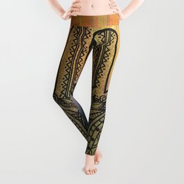 Colorful Golden Hamsa Hand Leggings