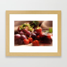 Fresh strawbeerie and Grapes to fall in love with Framed Art Print