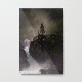 Sunlit waterfall detail in Norway Metal Print