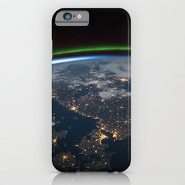 Earth orbit view ISS: Scandinavia at night iPhone Case