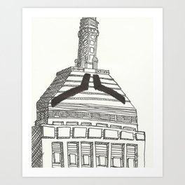 Mustachioed Monuments -- Old John Hancock (Berkeley Building) Art Print