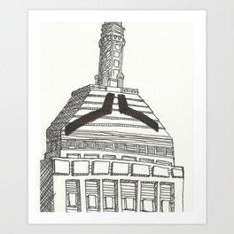 Mustachioed Monuments -- Old John Hancock (Berkeley Building) Art Print
