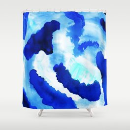 Bold Blue Abstract Watercolor Shower Curtain