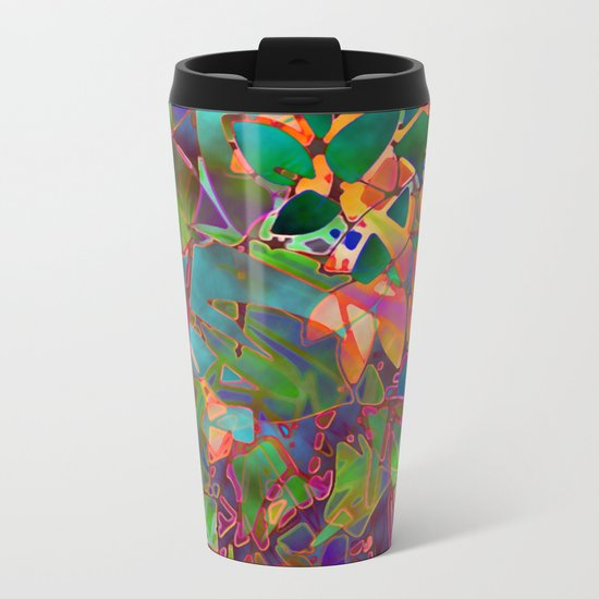 Floral Abstract Stained Glass G176 Metal Travel Mug