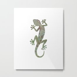 green leaf gecko silhouette Metal Print