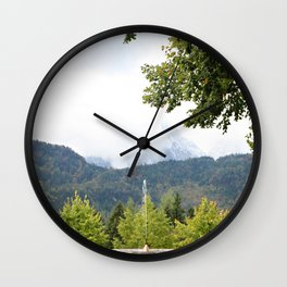 Fountain in the Mountains Wall Clock