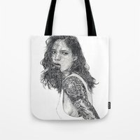 tattoos Tote Bags featuring Lust & Tattoos by Art & Ink