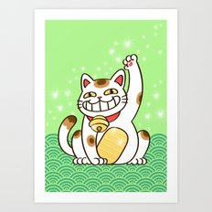 Winners Are Grinners (Lucky Cat) Art Print