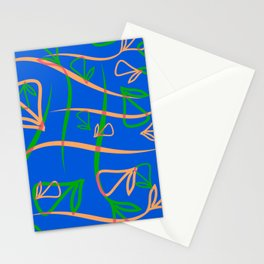 Geometric pastel pattern from vegetative peach and mint elements on a blue background. Stationery Cards