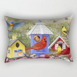 Birds and Colorful Bird Houses Rectangular Pillow