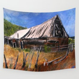 Old Barn New Mexico Desert Contemporary Acrylic Painting Wall Tapestry