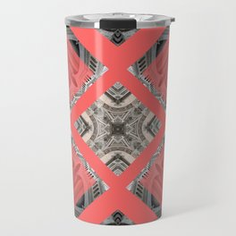 Living Coral Pantone Colour of the Year 2019 pattern decoration with neoclassical architecture Travel Mug