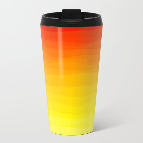 Red to Yellow Sunset Metal Travel Mug