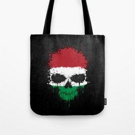 Flag of Hungary on a Chaotic Splatter Skull Tote Bag