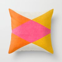 triangles Throw Pillows featuring summer triangles by her art