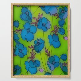 Neon Floral Composition Serving Tray