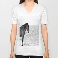 pony V-neck T-shirts featuring Assateague Pony by Biff Rendar